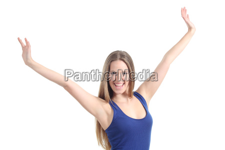 happy beautiful girl with her arms