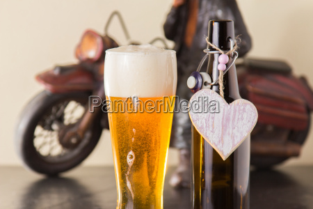 chilled golden beer into a glass
