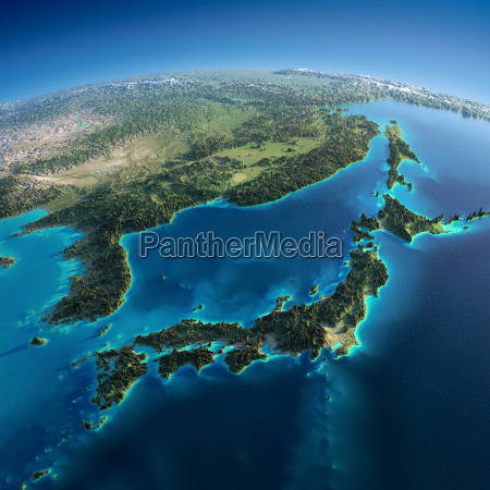 terra detalhada japao e coreia