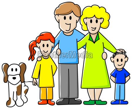 familia com cao