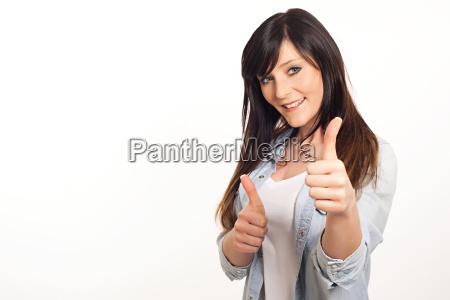 mulher mulheres para baixo positivo foto