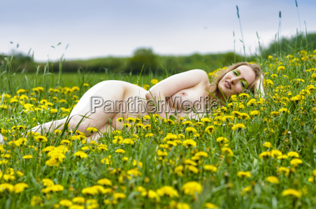naked girl lying in dandilons