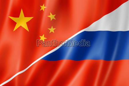 bandeira de china e de russia