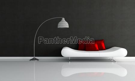 salao minimalista preto e branco