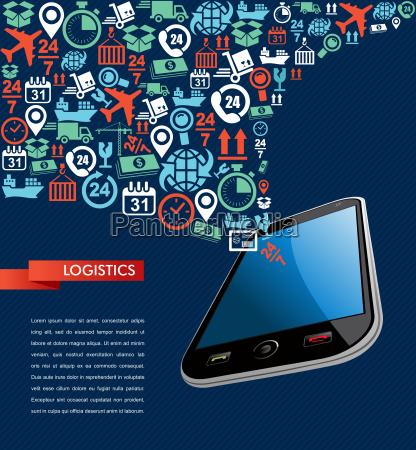 telefone azul aplicacao composicao grafico logistica