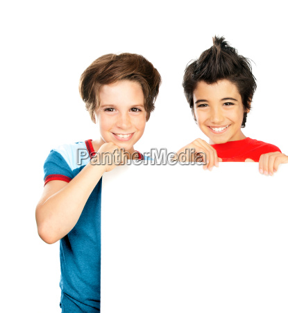 two happy boys isolated on white
