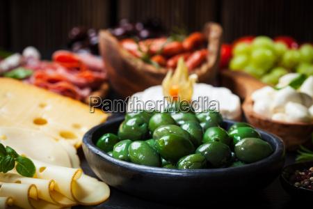 antipasto, com, azeitonas, verdes - 10009766