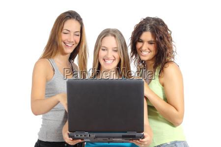 group of teenager girls browsing internet