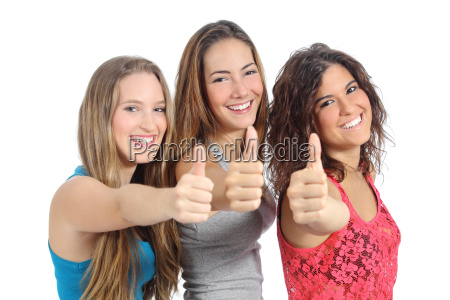 group of three girls with thumb