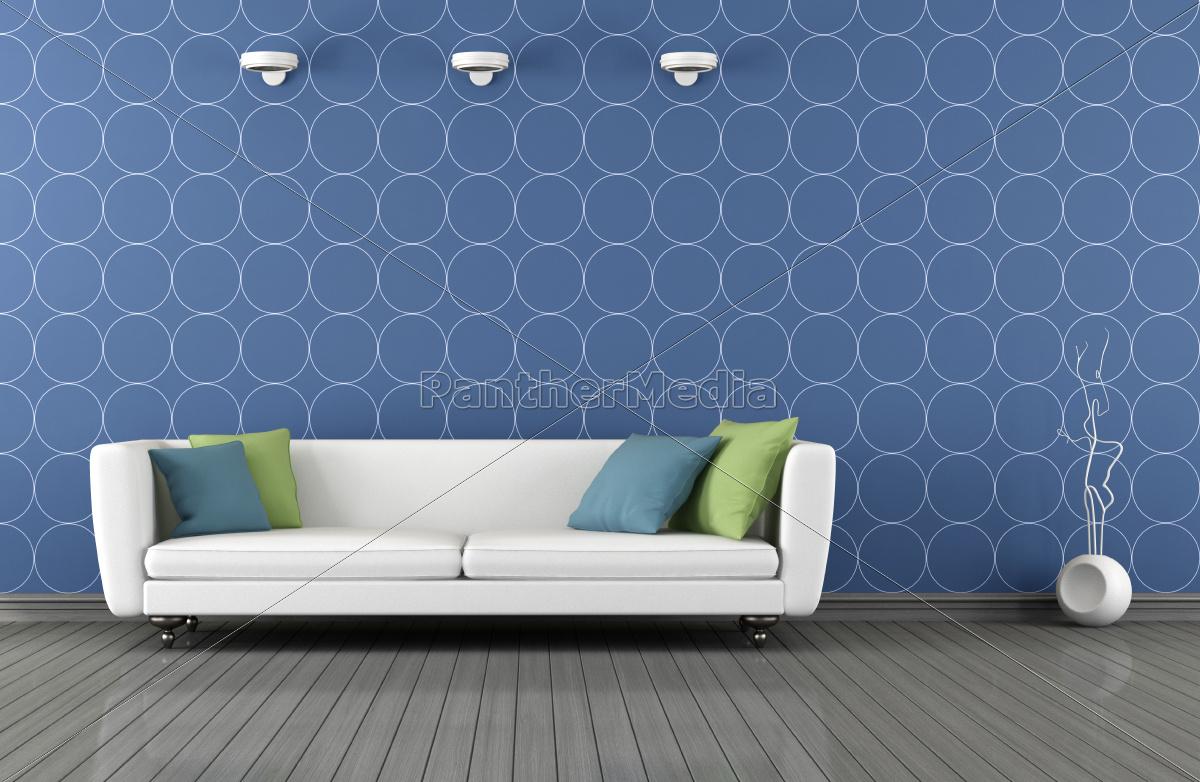 salão, moderno, azul, e, branco - 10129275
