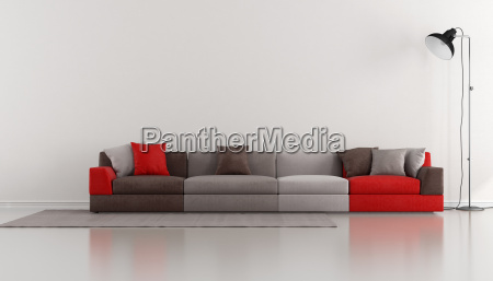 salao minimalista com moderno colorido