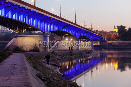 azul ponte noite varsovia construcao rio