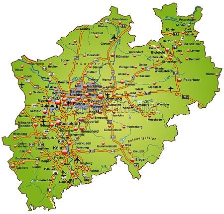 mapa de rhine westphalia norte com