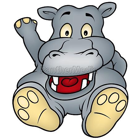 sitting hippo