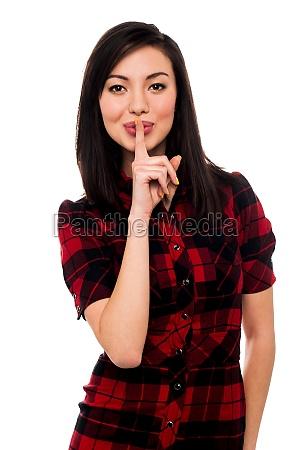mulher gesto belo agradavel dedo solitario