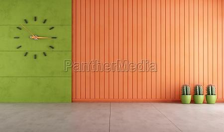 quarto vazio verde e laranja