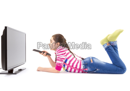 little girl watching led tv