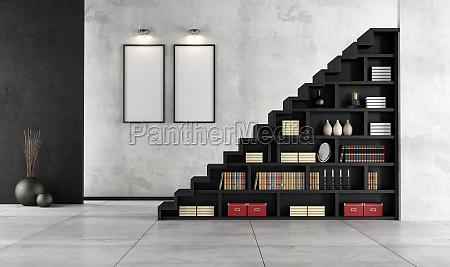 escada negro concreto parede estante contemporaneo