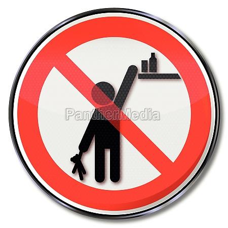 por favor verbotsschild produtos de criancas