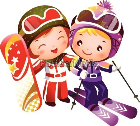esqui do menino e da menina