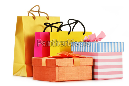 gift boxes and colorful gift bags