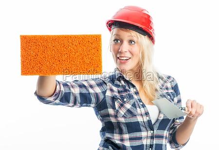 female craftsman with sponge as advertising