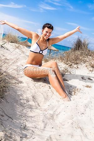 young attractive woman in bikini in