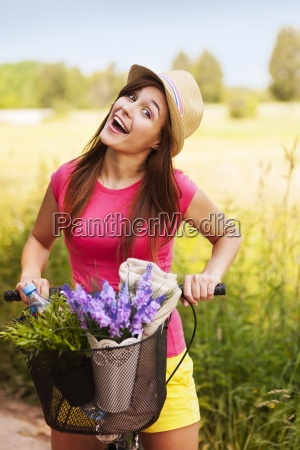 very happy woman spending time on