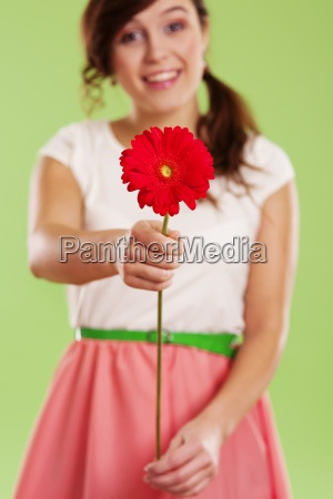 young woman showing a red gerbera