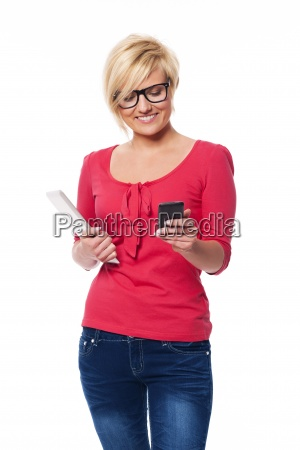 fashion female using mobile phone and