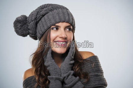 gorgeous young woman wearing winter clothing