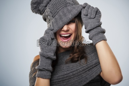young woman have fun with winter