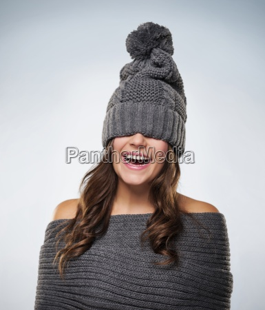 young woman have fun with wool