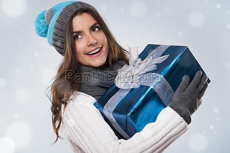 beautiful woman during the magic christmas