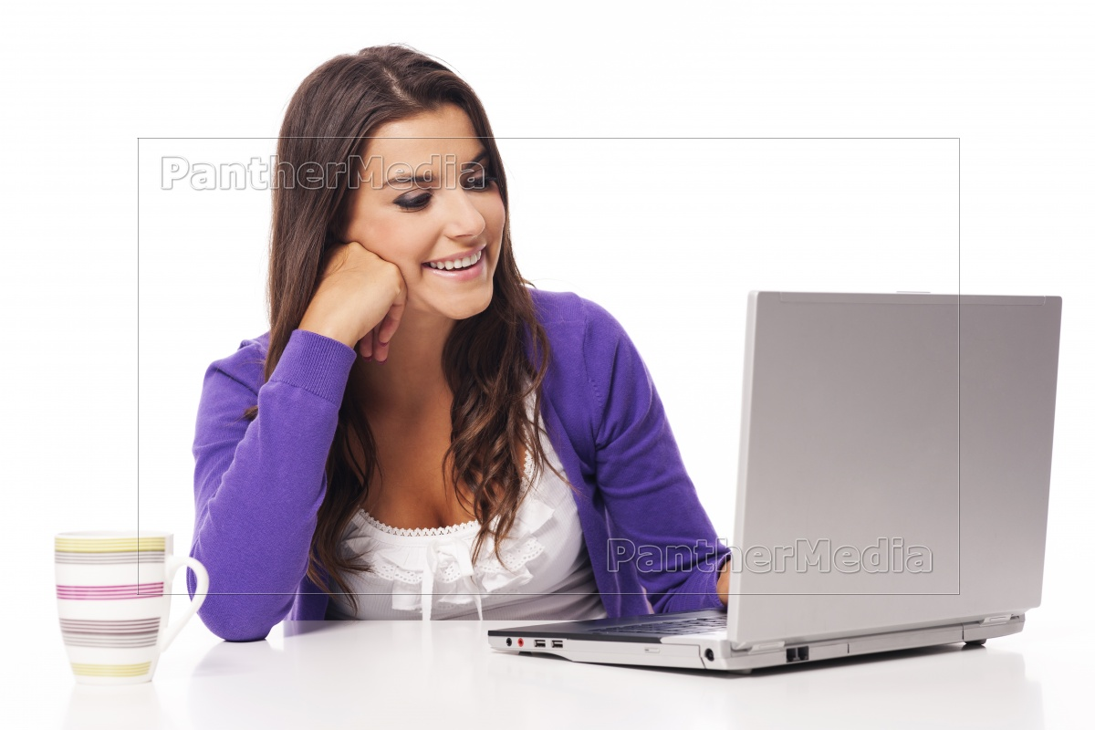 beautiful, smiling, woman, using, computer, - 12112836
