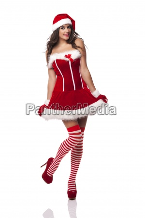 beautiful sexy woman wearing santa claus