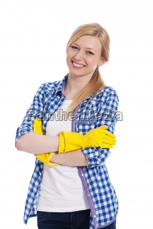 portrait of smiling beautiful female cleaner