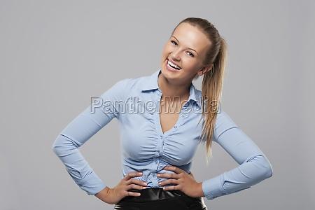 retrato, de, uma, empresária, feliz, e - 12117714