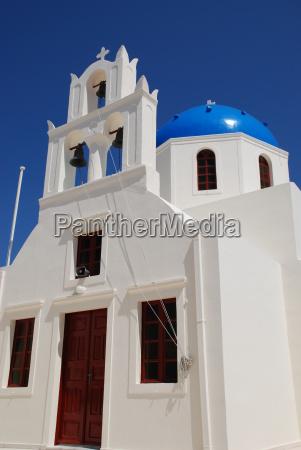 blue cupola in oia santorini