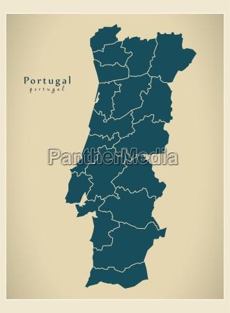 mapa moderno portugal distritos pt