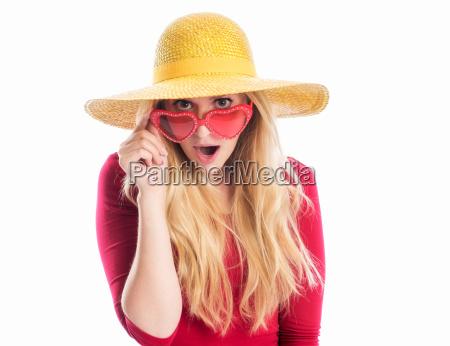 mulher, com, chapéu, e, óculos, de - 12624960