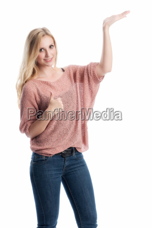 woman present indicate show advertise adverts