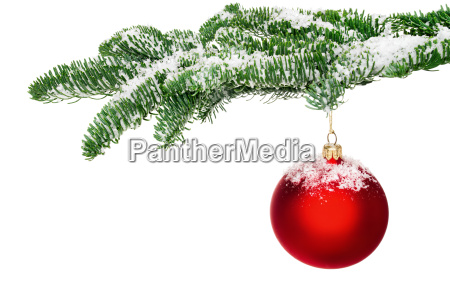 christmas bauble hanging on snow covered