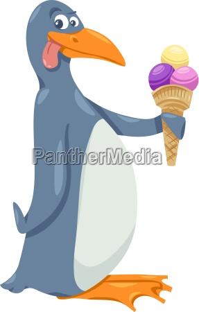 pinguim com desenhos animados sorvete