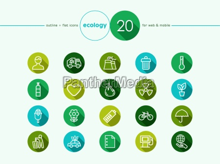 icones lisos ambiente verde definir
