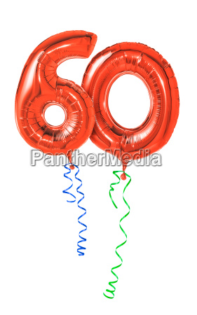 red balloons with ribbon number
