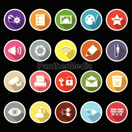 general computer screen flat icons with