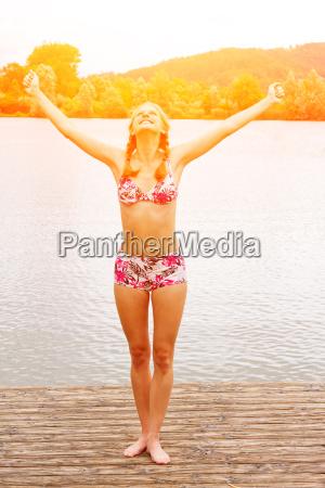 young woman at the bathing lake