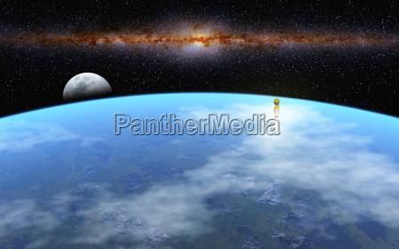 universo lua foguete globo terra