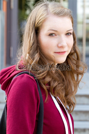 young woman at the school